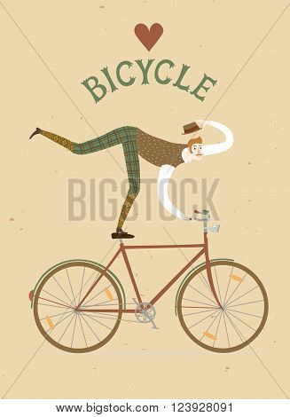 City style elegant man riding standing on a bicycle. Love bicycle vintage title. Cartoon cyclist illustration for your design.