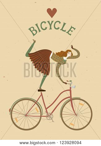 City style elegant woman riding standing on a bicycle. Love bicycle vintage title. Cartoon cyclist illustration for your design.