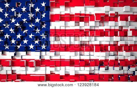 3d image american geometric old glory