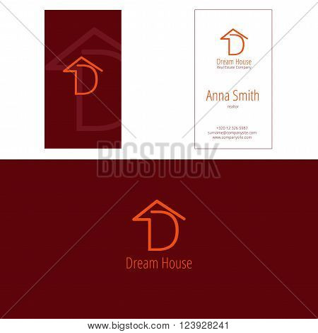 D dream house real estate company logo and corporate business card