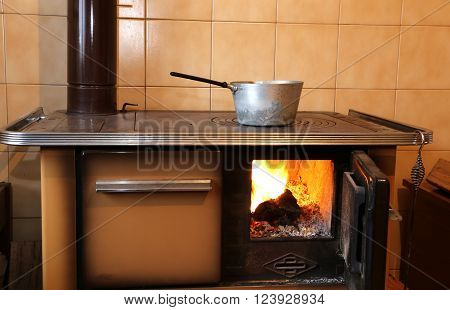 old wood stove to cook meals in the old mountain house