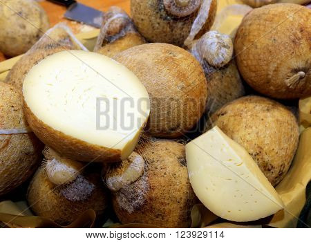 Lots Of Forms Of Caciocavallo Cheese For Sale On The Italian Market