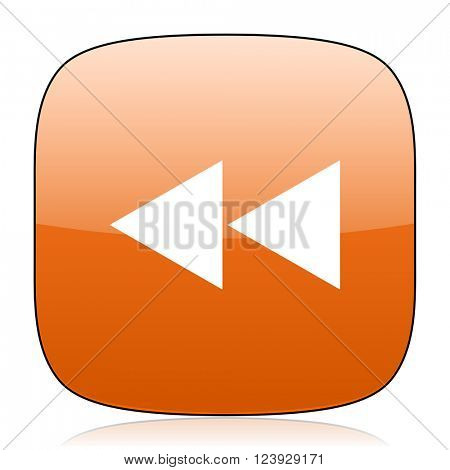 rewind orange square glossy web icon