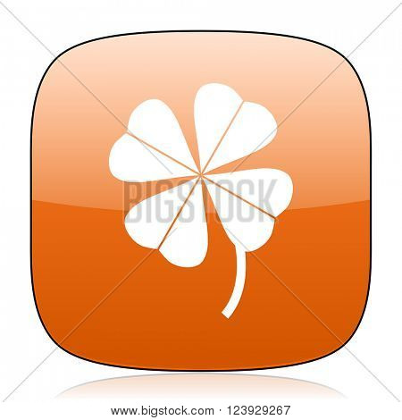 four-leaf clover orange square glossy web icon