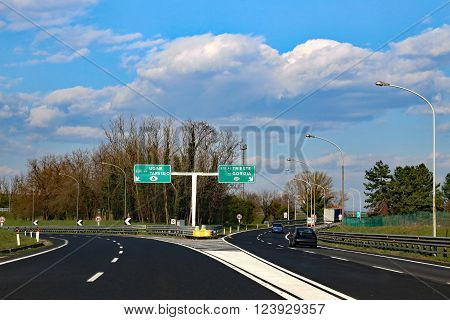 Highway Junction In Northen Italy With Crossroad To Go To Austria Or Slovenia