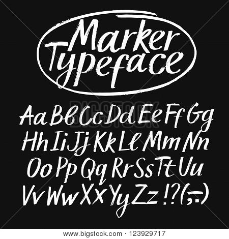 Hand drawn textured vector ABC letters set on black background. Marker style typeface with upper and lower case. Artistic font for your design.