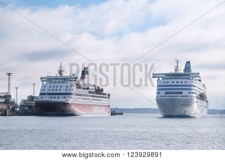 Helsinki, Finland - March, 14, 2016: cruise ship in a sea near Helsinki, Finland