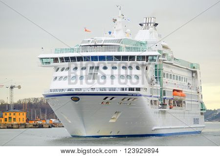 Stockholm, Sweden - March, 16, 2016: The image of a cruise ship near Stockholm, Sweden