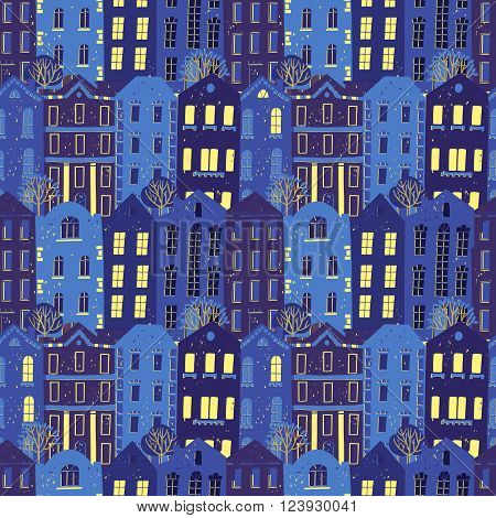 Vector seamless pattern with colorful European style houses.Night city view. Grungy printmaking style illustration. Architecture background.