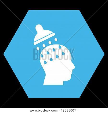 Brain Washing vector pictogram. Image style is bicolor flat brain washing pictogram symbol drawn on a hexagon with blue and white colors.