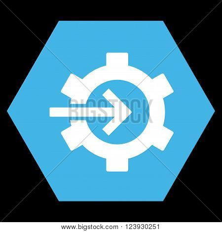 Cog Integration vector symbol. Image style is bicolor flat cog integration icon symbol drawn on a hexagon with blue and white colors.