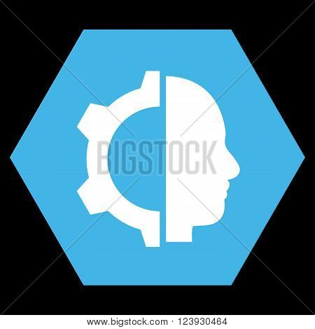 Cyborg Gear vector symbol. Image style is bicolor flat cyborg gear pictogram symbol drawn on a hexagon with blue and white colors.