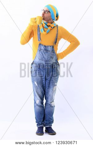 Minion Yellow Blue Scarf Cup White Background