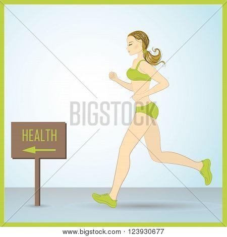 Sport Woman Run Fitness Girl Jogging Vector Illustration