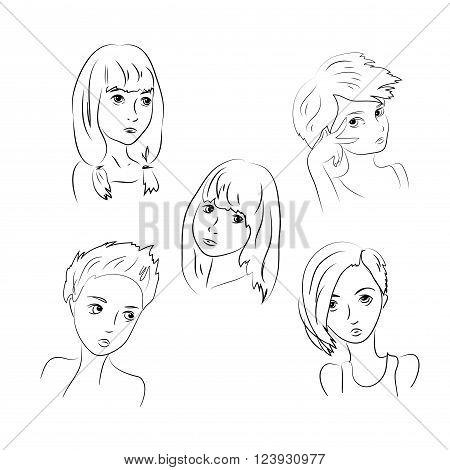 Set Sad Girls Young Teenager Children Depression . Isolated on White Background