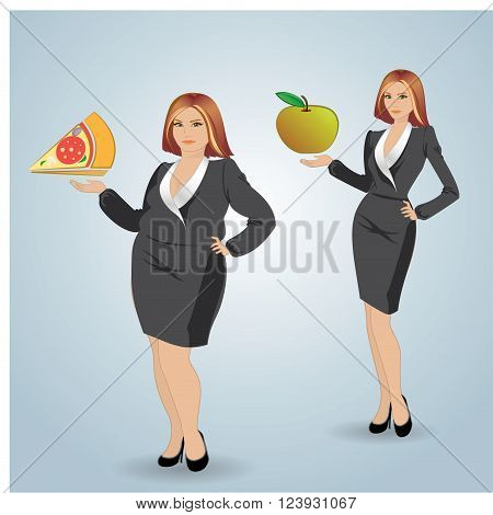 Diet. Choice of girls: being fat or slim. Vector.