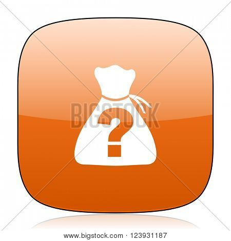 riddle orange square glossy web icon