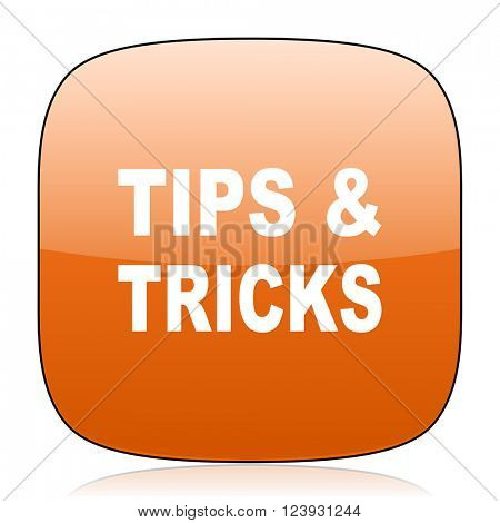 tips tricks orange square glossy web icon
