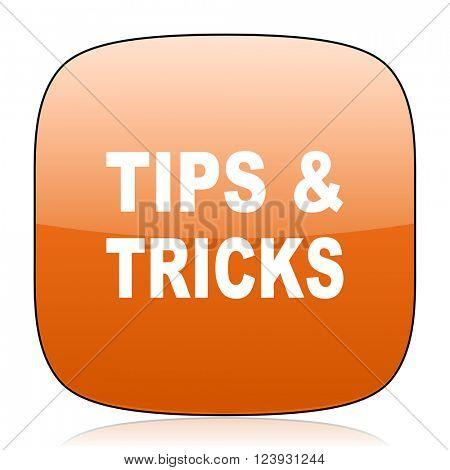 tips tricks orange square glossy web icon