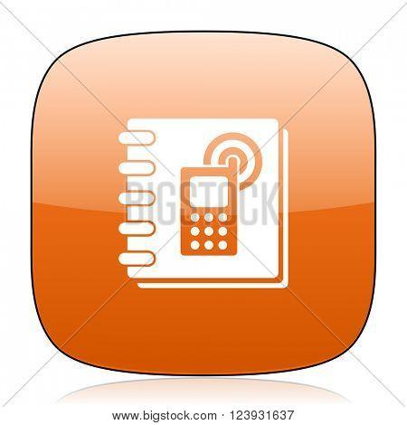 phonebook orange square glossy web icon