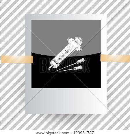 syringe. Photoframe. Raster icon.