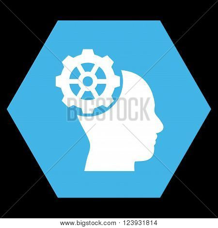 Head Gear vector pictogram. Image style is bicolor flat head gear iconic symbol drawn on a hexagon with blue and white colors.