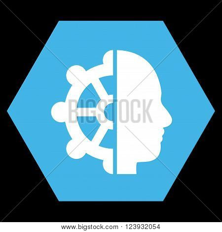 Intellect vector icon. Image style is bicolor flat intellect icon symbol drawn on a hexagon with blue and white colors.