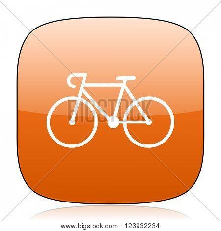 bicycle orange square glossy web icon