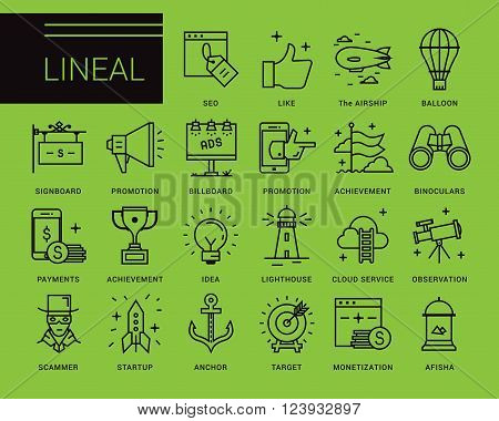 Line vector icons in a modern style. Marketing Advertising and PR, methods of promotion, business management, distribution of the objectives and resources,