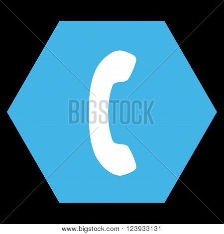 Phone Receiver vector icon. Image style is bicolor flat phone receiver pictogram symbol drawn on a hexagon with blue and white colors.