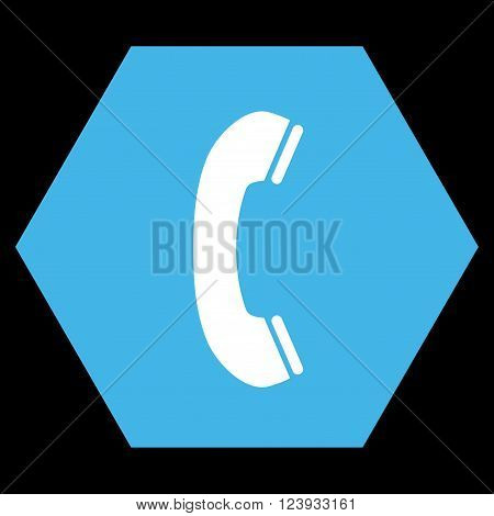 Phone Receiver vector icon symbol. Image style is bicolor flat phone receiver iconic symbol drawn on a hexagon with blue and white colors.