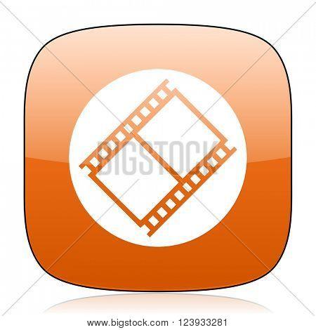 film orange square glossy web icon