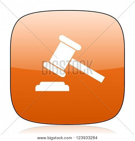 auction orange square glossy web icon