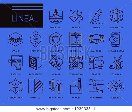 Line vector icons in a modern style. 3D design, working with objects, tools for 3D modeling, scanning and recognition of shapes, 3D printing, game design, polygonal modeling, rendering.