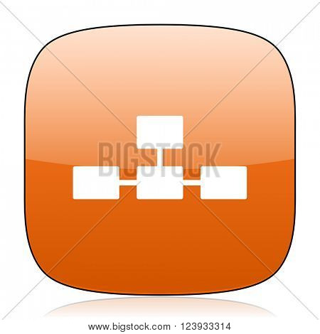 database orange square glossy web icon