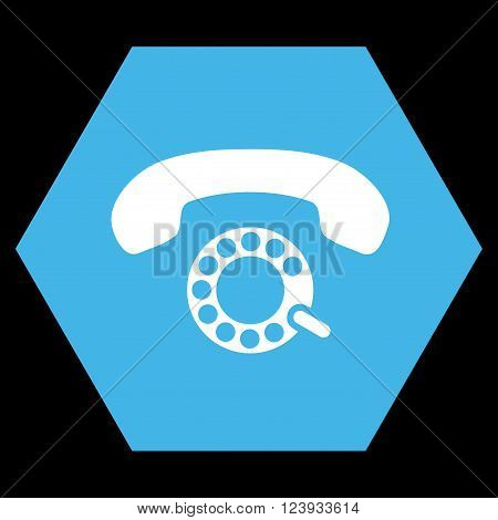 Pulse Dialing vector icon. Image style is bicolor flat pulse dialing icon symbol drawn on a hexagon with blue and white colors.