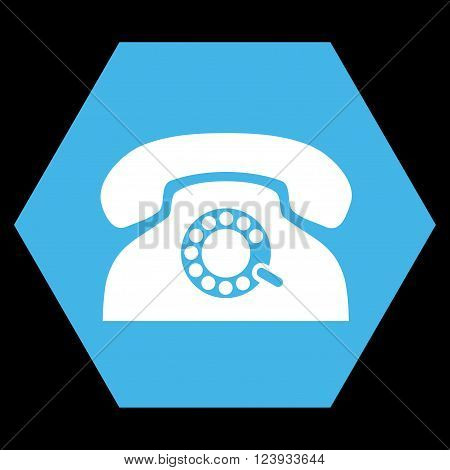 Pulse Phone vector icon symbol. Image style is bicolor flat pulse phone iconic symbol drawn on a hexagon with blue and white colors.