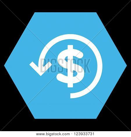 Refund vector icon. Image style is bicolor flat refund pictogram symbol drawn on a hexagon with blue and white colors.