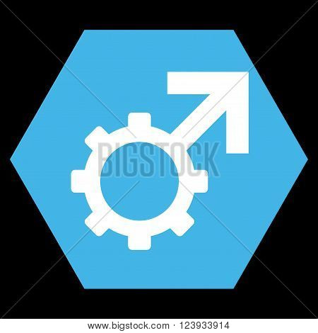 Technological Potence vector icon. Image style is bicolor flat technological potence icon symbol drawn on a hexagon with blue and white colors.