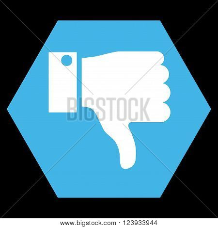 Thumb Down vector pictogram. Image style is bicolor flat thumb down iconic symbol drawn on a hexagon with blue and white colors.