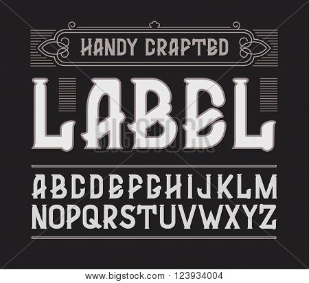 Vector red handy crafted vintage label font