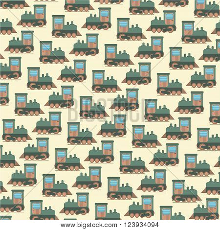 Vector funny cartoon toy train seamless pattern. Little steam train background.