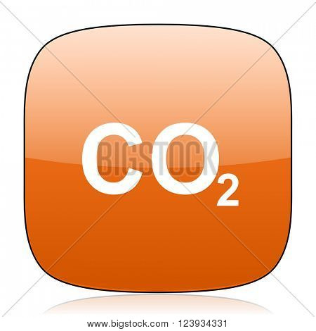 carbon dioxide orange square glossy web icon