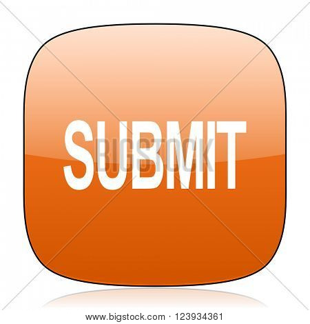 submit orange square glossy web icon