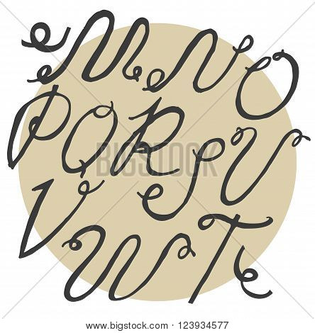 Ink alphabet M to T freehand funky based on calligraphic swirls. Vector illustration made with brush and black dye. Cursive upper case font useful for branding lettering and writing.