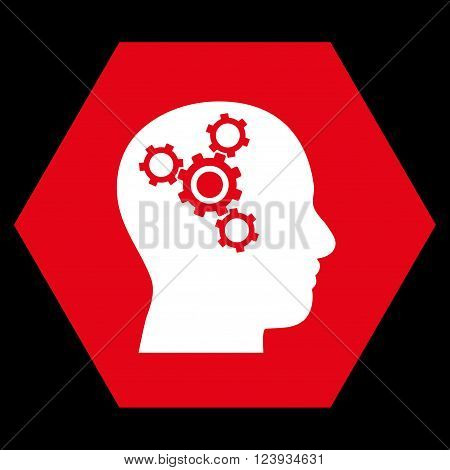 Brain Mechanics vector icon. Image style is bicolor flat brain mechanics pictogram symbol drawn on a hexagon with red and white colors.