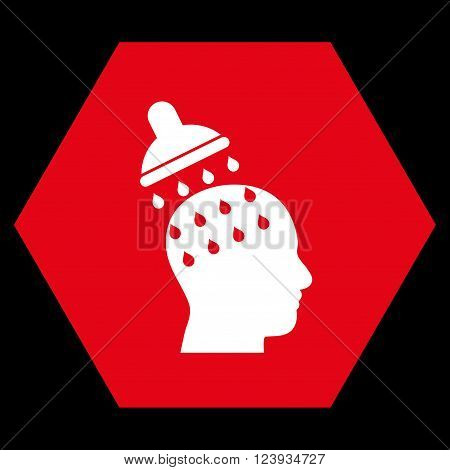 Brain Washing vector icon. Image style is bicolor flat brain washing icon symbol drawn on a hexagon with red and white colors.