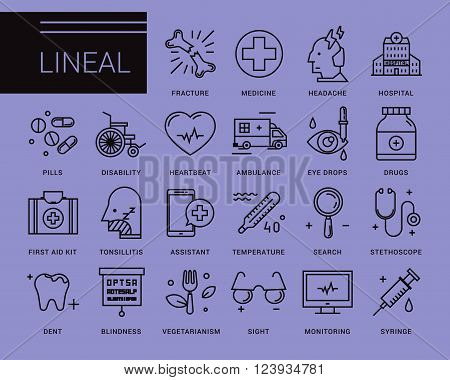 Line vector icons in a modern style. Medical assistance online, hospitalized patients, first aid kit, vision loss, emergency medical care, dental care, vegetarianism and healthy lifestyle