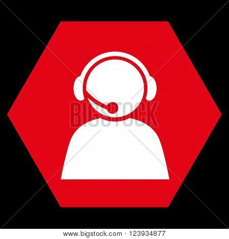 Call Center Operator vector pictogram. Image style is bicolor flat call center operator iconic symbol drawn on a hexagon with red and white colors.