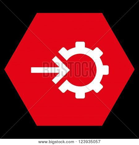 Cog Integration vector pictogram. Image style is bicolor flat cog integration pictogram symbol drawn on a hexagon with red and white colors.